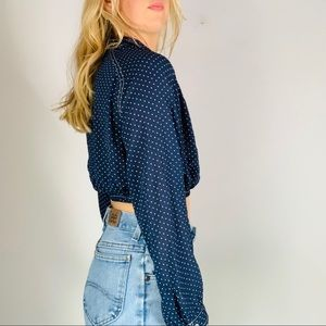 Zara Tops - NWT ZARA Navy Geo button-down collared crop top M